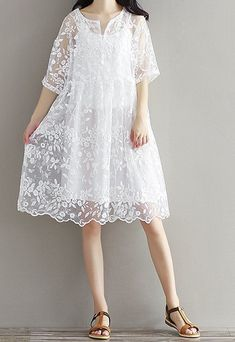 Women loose fit over size white lace flower embroidered dress tunic sling chic . - Women loose fit over size white lace flower embroidered dress tunic sling chic – women casual l - Wedding Dresses Plus Size, Trendy Dresses, Simple Dresses, Nice Dresses, Casual Dresses, Short Dresses, Casual Shoes, Simple Shoes, Shoes Style