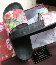 e0ddc95f5755 New Men s Women s Blooms Floral Tian Slide Print Sandal. Gucci ...