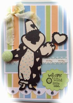 """Baby Boy Card by PINQUETTE Mary using Pinque Peacock Fabric 3/4"""" Fabric Covered Button.  #babycard #pinquepeacock #fabricbutton #button #cards #babyboycard #card"""
