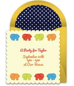 Browse our collection of free baby shower invitation templates! We love this free elephant-inspired invite, perfect for inviting friends to an elephant-themed baby shower.