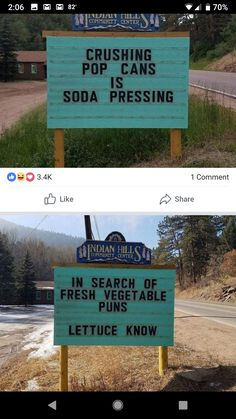 Funny Puns Jokes Humor Words 28 Ideas Funny Puns Jokes Humor Words 28 Ideas,Memes Related posts:Man Posts Brilliant Dad Jokes And Puns On a Roadsign In a Small TownTop 20 Hilarious puns that are. Silly Jokes, Cheesy Jokes, Puns Jokes, Dad Jokes, Funny Puns, Haha Funny, Funny Quotes, Funny Stuff, Humor Quotes