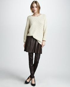 Textured V-Neck Sweater Pleated Leather Skirt & Leather Leggings by Vince at Neiman Marcus.