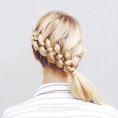 four strand braid into a low side ponytail via yetanotherbeautysite instagram