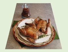 Herb Roasted Game Hens with Rhubarb-Date Chutney - Good Food And Treasured Memories Chicken Meals, Chicken Recipes, Date Chutney, Cheese Shop, Golden Raisins, Dried Apricots, Honey Lemon, Roasting Pan, Hens