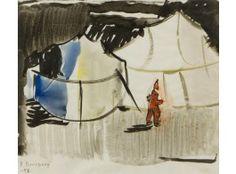 Håkan Brunberg: Sirkus, 1942, vesiväri, 25x29 cm - Hagelstam 5/2016 Finland, Painting, Art, Art Background, Painting Art, Kunst, Paintings, Performing Arts, Painted Canvas