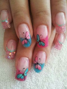 French Nail Designs, Cute Nail Designs, May Nails, Hair And Nails, Teen Nails, Cruise Nails, Paris Nails, Butterfly Nail Art, Pedicure Nail Art