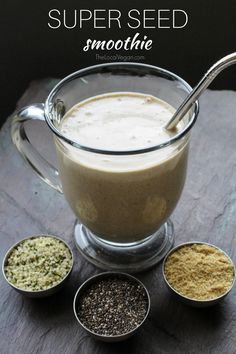 Super Seed Smoothie  1 frozen banana 1 cup cashew milk, or other nut milk 1 serving of Sunwarrior Classic Vanilla Protein powder 1 serving of Sunwarrior Sprouted Barley 2 tbsp peanut butter 1 tbsp hemp seeds 1 tbsp chia seeds 1 tbsp milled flax seed 1 date, seed removed dash of cinnamon optional: splash of maple syrup for added sweetness Blend all ingredients until smooth. Enjoy!
