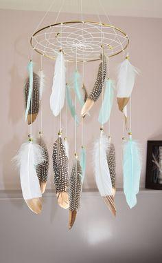 Dreamcatcher Baby Mobile, Baby Boy Nursery Mobile, Baby Gift, Feather Mobile, Native American Style, Aqua Mint Nursery Decor