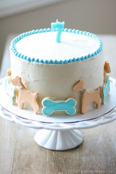 dog cake, creamsicle buttercream frosting