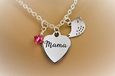 Mama Bird Stainless Steel Laser Engraved Heart Necklace With Silver Bird Charm  #Handmade
