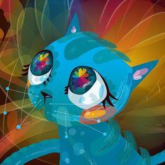 ♥CAT♥ 162 BLUE ART CAT (BENTHEILLUSTRATOR.PROSITE.COM)