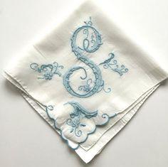 Vintage Handkerchief Initial S Wedding Hankie Blue by NeatoKeen