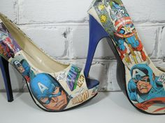 CaPtAiN AmErIcA Comic Book Heels. Custom Made for Special Occasions. Superhero Sexy Cool and Geeky.Wedding Day. Birthday. For Her.