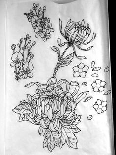 japanese+fan+drawing | japanese flowers line drawing by michaelbrito