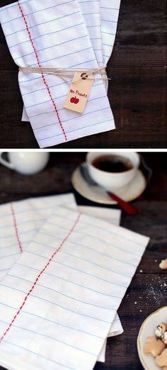 DIY Notebook Tea Cloths | Click Pic for 18 DIY Back to School Teachers Gifts Ideas | Handmade Gifts for Teachers Beginning of Year