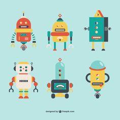 Robots Retro Style Free Vector