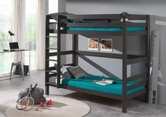 Vipack - Pino Bunk Bed High Taupe Grey Vipack - Pino Bunk Bed High Grey The Vipack Pino Bunk Bed High is available in white, natural and dark grey, made from solid pine. The Vipack Pino Bunk Beds can also be separated into 2 singl Bunk Beds Small Room, Bunk Beds Boys, Kid Beds, Single Bunk Bed, Game Room Kids, Diy Bett, Room Design Bedroom, Diy Bed Frame, Game Room Design
