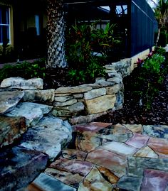 stone steps and stone wall planter