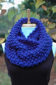 Infinity Scarf in Cobalt Blue Hand Knit Chunky Textured Pattern