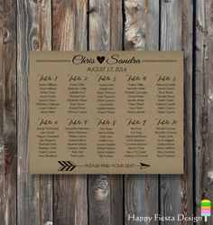 PRINTABLE Wedding Seating Chart Sign - Seating Arrangements - Wedding Table Plan - WSB ******************************************************************** *** This is the DIGITAL file only and NOTHING PRINTED will be shipped! *** ******************************************************************** *** HOW TO ORDER *** * Add this listing to your cart and make payment. * Please send in note to seller:  - Bride and Groom Names.  - Wedding Date;  - Landscape or Portrait (examples in pics nr.2…