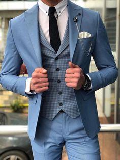 Light Blue Suit, Blue Suit Men, Suit For Men, Prom Suits For Men, Mens Dress Outfits, Stylish Mens Outfits, Mens Fashion Suits, Mens Suits, Terno Slim