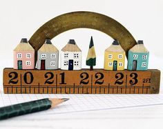 Miniature Street, Pencil Street, Wooden Street, Houses on Ruler, Handmade Street, Protractor Street, Diorama, Unique Gift, One of a Kind
