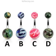 Camo Style Acrylic Belly Ring #mspiercing #piercings