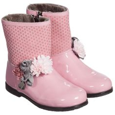 Monnalisa Girls Pink Suede & Patent Leather Boots at Childrensalon.com