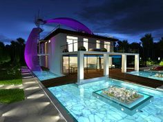 modern with cool surrounding pool