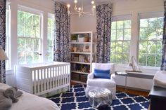 Sophisticated, glam navy and white nursery