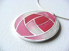 Sterling Silver and polymer clay pendant, in the style of Charles Rennie Mackintosh