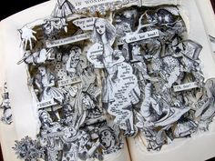Alice in Wonderland - Book Sculpture - Altered Book with Sir John Tenniel Illustrations - Shadowbox FRAMED