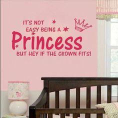 """Wand Aufkleber """"Princess"""" in Schwarz und Pink"""