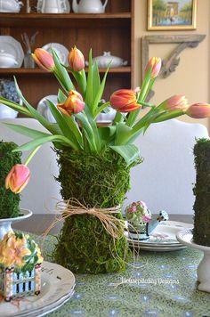 Hot glue sheet moss to vase - Moss Covered Vase - Housepitality Designs