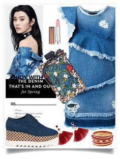 """""""Denim"""" by hani-bgd ❤ liked on Polyvore featuring MARCOBOLOGNA, STELLA McCARTNEY, Coach, Shashi, Maybelline, denim and dress"""