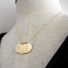 Letter Necklace Gold Initial Necklace  DOT  14K GF by ERiaDesigns, $81.00-i like book lettering
