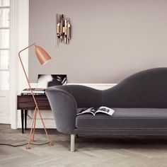 Shop For Gubi Grashoppa Floor Lamp Online, ‪Australia‬. Select From Our Huge, Scandinavian, Modern, Gubi Range. Murs Taupe, Grasshopper Lamp, Charcoal Sofa, Taupe Walls, Neutral Walls, Brown Walls, Grey Flooring, Interior Inspiration, Living Room Ideas