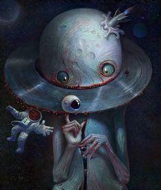 Saturn Collector by Alexandr Kumpan Arte Horror, Horror Art, Surealism Art, Medusa Art, Acid Art, Beautiful Dark Art, Psy Art, Arte Obscura, Dark Art Drawings