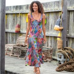 "KALEIDOSCOPE PATCHWORK DRESS -- Printed paisley patches turn our maxi-length dress into a dazzling display of color and pattern. Bias cut with full sweep skirt. Silk. Dry clean. Imported. Exclusive. Sizes XS (2), S (4 to 6), M (8 to 10), L (12 to 14), XL (16). Approx. 52""L."