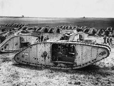 Crashed British tanks
