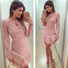 Vestidos Women Fashion Casual Lace Dress 2015 O-Neck Sleeve Pink Evening Party Dresses Vestido de festa Brasil Trend alishoppbrasil