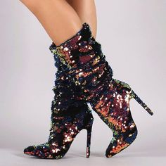 Black Slip-On Stiletto Heel Fashion Glitter Boots Glitter Slip-On Stiletto Heel Fashion Boots Stiletto Boots, High Heel Boots, Heeled Boots, Shoe Boots, Women's Boots, Black Boots, Ankle Boots, Buy Boots, Cowboy Boots