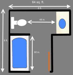 small bathroom floor plans on Bathroom Plans - Maximum Efficiency in a Small Bathroom Space Small Bathroom Floor Plans, Bathroom Layout Plans, Small Bathroom Layout, Bathroom Design Layout, Bathroom Ideas, Bathroom Designs, Bathroom Organization, Bath Design, Bath Ideas