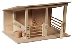 Amish Wooden Toy Horse Stable with Pails