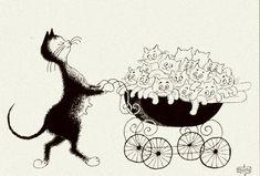 Albert Dubout 'Les chats' 03