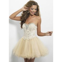 Champagne Ruffled Rhinestone Lace Top Strapless Homecoming Dress via Polyvore featuring dresses, prom dresses, a line cocktail dress, champagne prom dresses, beaded cocktail dress and cocktail mini dress