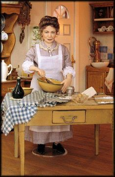 miniature dolls Annemarie dolls - LOVE the facial expression. I really wouldn't mess with her kitchen today. Victorian Dolls, Victorian Dollhouse, Dollhouse Dolls, Miniature Dolls, Vintage Dolls, Dollhouse Miniatures, Barbie, Doll House People, Tiny Dolls