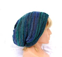 knit hat, knitted green blue hat, cotton summer beanie , cotton cap, adult colorful tam, women men slouche, knitting accessories, clothing by peonijahandmadeshop on Etsy