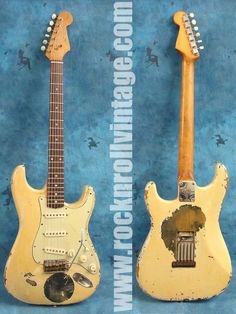 This is a Fender Stratocaster from the 1960s. It is one of my favorite guitars to play and what I am most popularly associated with, although I played quite a few others guitars.