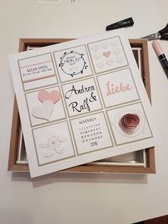 unabhängige Stampin' UP! Wedding Cards, Wedding Gifts, Stampin Up, Frame Layout, Diy And Crafts, Paper Crafts, Wedding Picture Frames, Handmade Christmas Gifts, Some Cards